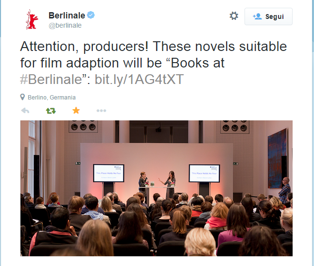 "Berlinale su Twitter   Attention, producers! These novels suitable for film adaption will be ""Books at #Berlinale""  http   t.co 66Ysnb819x http   t.co XAXNFr8X4k"